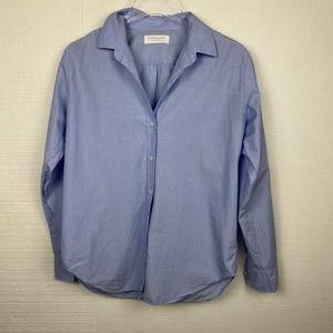 EVERLANE Shirt Blue Button Front Long Sleeves